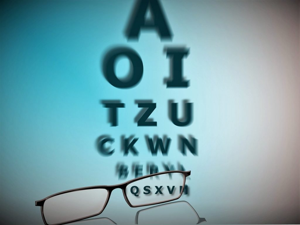 Ogentest brilmontuur letters woorden tekst